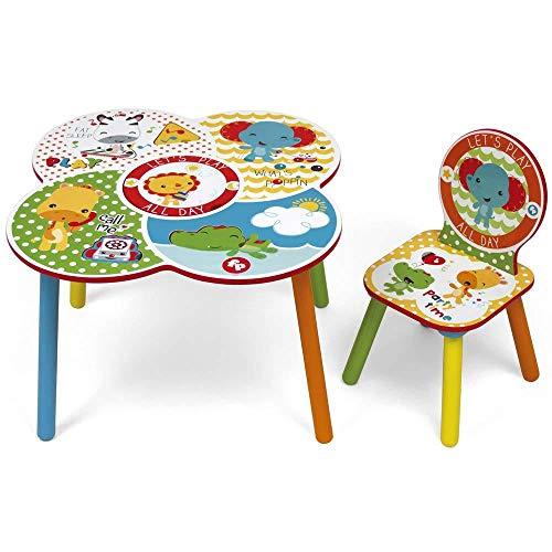 Fisher Price FP10000 Set van tafel en stoel, hout, wit/geel, 52 x 60 x 60 cm
