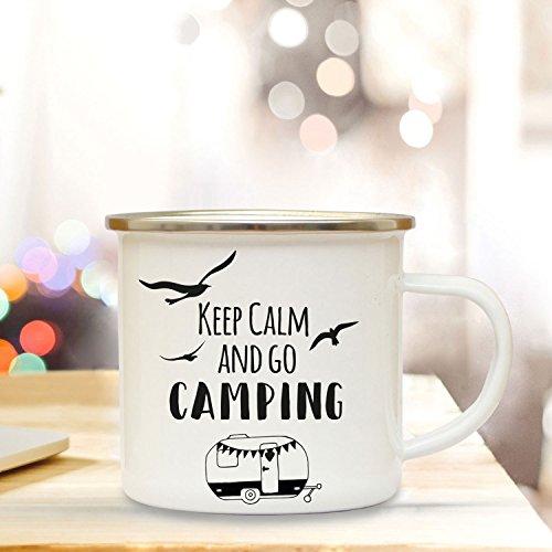 ilka parey wandtattoo-welt Emaille Becher Camping Tasse Wohnwagen Camper & Spruch Motto Keep Calm and go Camping Kaffeetasse Zitat Geschenk eb140