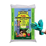 Worm Castings Organic Fertilizer, Wiggle Worm Soil Builder, 30-Pounds [Bundled with Pearsons Garden Gloves]