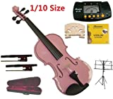 Merano 1/10 Size Pink Violin with Case and Bow+Extra Set of Strings, Extra Bridge, Extra Bow, Rosin, Black Music Stand, Metro Tuner
