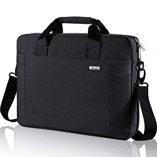 Voova Laptop Bag 15.6 15 14 Inch Briefcase, Expandable Computer Shoulder Messenger Bag Waterproof Carrying Case with Tablet Sleeve, Organizer for Men Women,Business Travel College School-Black
