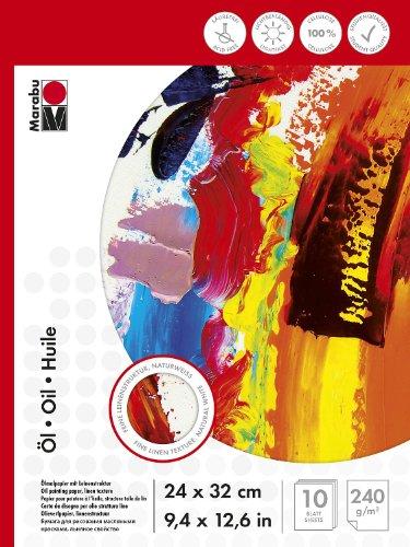 Marabu 1612000000034 - Malblock für Ölmalerei, 240 g/qm, 10 Blatt, 24 x 32 cm, naturweiß, Ölmalpapier mit feiner Leinenstruktur, säurefrei, aus Cellulose, für Struktur- und Reliefeffekte geeignet