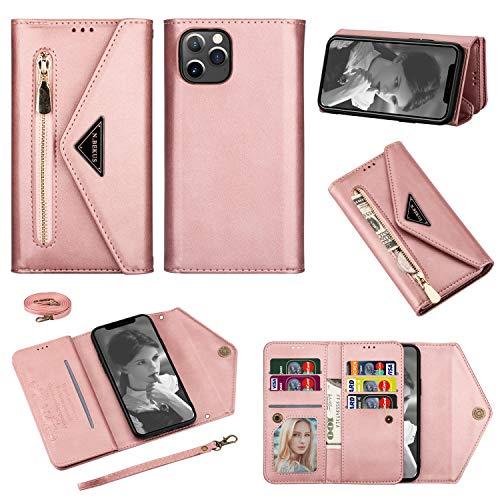 Shinyzone - Funda de piel sintética con cremallera para iPhone 12 Pro Max de 6,7 pulgadas, con correa para el cuello, color oro rosa