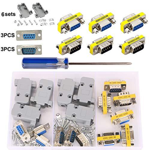 GTIWUNG Conector de Serie DB9, RS232 Macho Hembra, 9 Pin VGA SVGA Hembra a Hembra Macho a Macho Mini Adaptador de Cambiador de Género Adaptador, VGA SVGA Conversor Genero