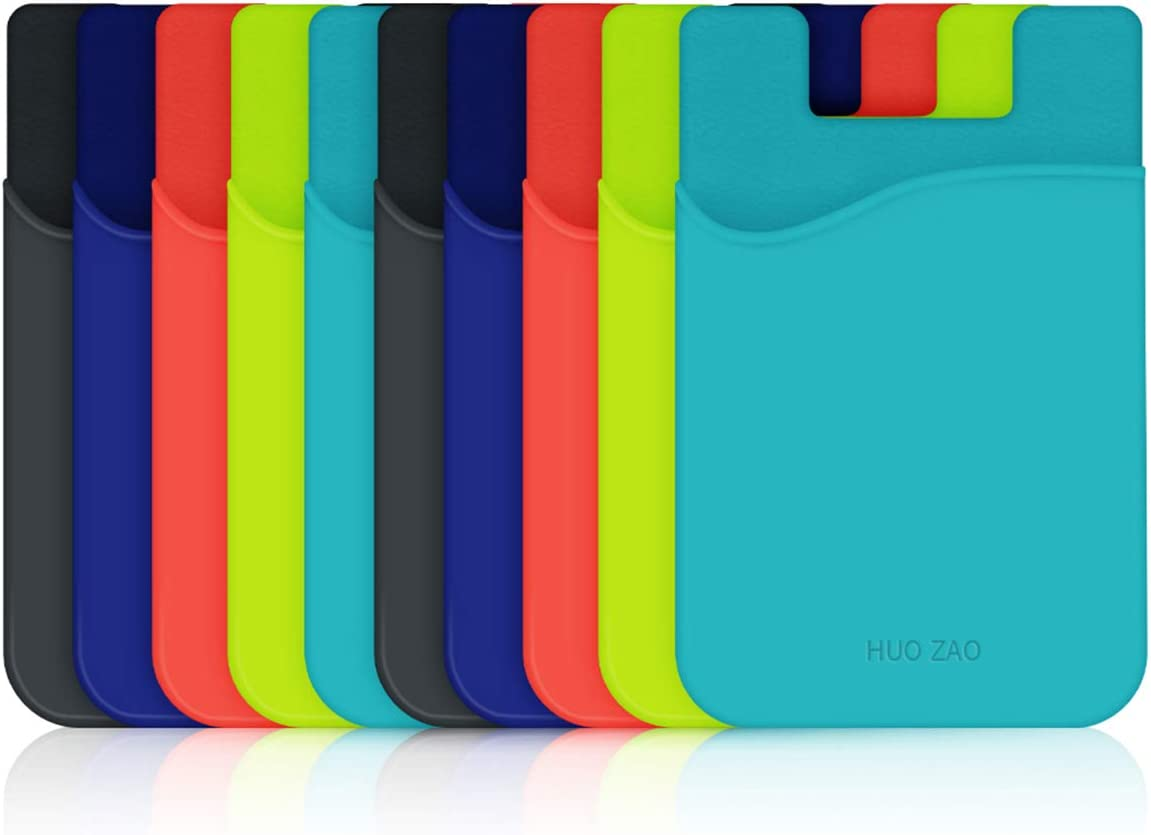 Phone Card Holder for Phone Back, HUO ZAO Silicone Adhesive Credit Card Pouch with 3M Stick-on Phone Wallet, Compatible with Apple iPhone Samsung Galaxy Android Cell Phone Table Multi Colors - 10 Pack