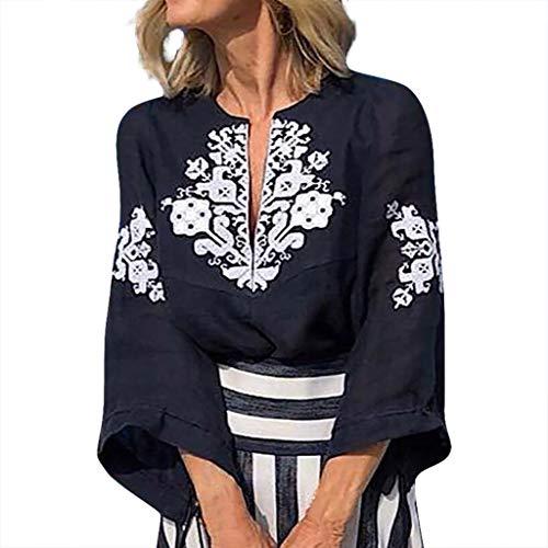 ONLYTOP_Clothing Womens Boho Long Sleeve Blouse,ONLYTOP Womens Casual Deep V-Neck Shirt Bohemian Print Beach T-Shirt Navy