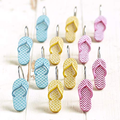 The Lakeside Collection Flip Flop Shower Curtain Hooks - Beach Themed Accent Rings - Set of 12