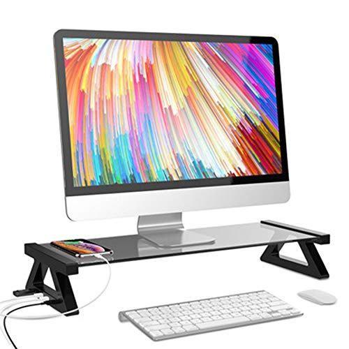 DSDY Display stand riser, 4-port USB 3.0 hub tempered glass display stand, high-speed data transfer station manager laptop stand keyboard tray, with USB cable for PC laptop MacBook