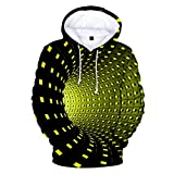 KIZOOM Unisex Hoodies 3D Printing Pattern Novelty Creative Pullover Casual Long Shirts Hooded Sweatshirt with Pocket Yellow