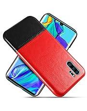 Suhctup Compatible con Huawei Magic 2 Funda Cuero Calidad Ultrafina Estilosa Simple Empalme Estilo Carcasa de Piel Durable Antigolpes Antideslizante Protección Caso(Negro Rojizo)