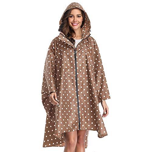 Summer Mae Regen Poncho Jacke Mantel für Erwachsene mit Kapuze wasserdicht mit Reißverschluss im Freien,Einheitsgröße,Point Coffee