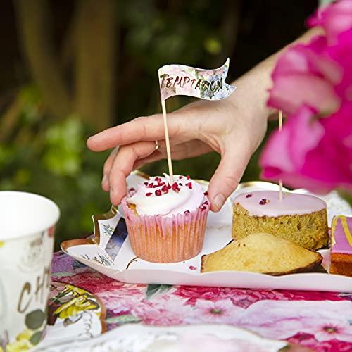 Talking Tables Packung mit 24 Lebensmitteletiketten für Blumenpartys   Wirklich leckere Canape-Flaggen für Buffet, Vorspeisen, Käse, Obst, Cocktail Sticks