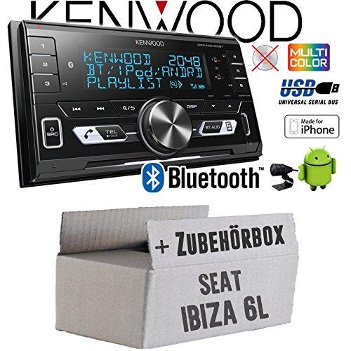 Autoradio Radio Kenwood DPX-M3100BT - 2-DIN Bluetooth USB VarioColor Einbauzubehör - Einbauset für Seat Ibiza 6L - JUST SOUND best choice for caraudio