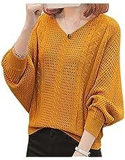 [エムエルーセ] 5色展開 ニット Vネック トップス セーター 透かし編み 透け感 長袖 秋 冬 ゆったり おしゃれ レディース