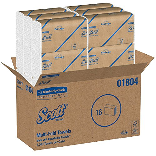 Scott Multifold Paper Towels (01804) with Fast-Drying Absorbency Pockets, White, 16 Packs/Case, 250 Multifold Towels/Pack (1 BOX)