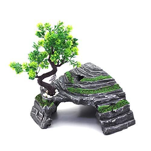 OMEM Terrarium-Versteck für Reptilienbox, Höhlen, Schildkrötenrampe, Sonnenplattform, Dekoration, Befeuchtung, Höhle, Kunstharz, Stein