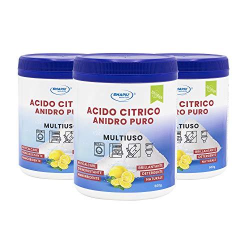 Acido Citrico Puro - Detergente Multiuso 500 g - 3 flaconi