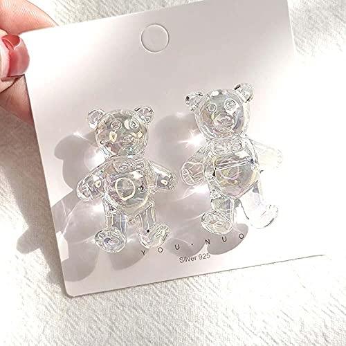 XCWXM Brincos de urso Feminino Transparente Claro cogumelo Animal Flores brinco para Meninas Festa Moda jóias-Stand Bear