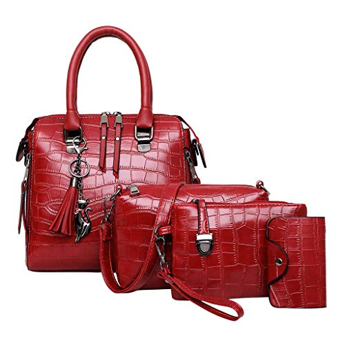 Aoogo 4pcs Art- und Weisefrauen-Steinleder vierteiliges Muster Handbag + Crossbody Bag + Clutch Bag + Card Package