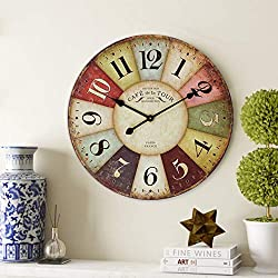 Home Decor Clock, Colorful Retro Arabic Numerals Style, Silent Non -Ticking Quartz Wooden Wall Clock, Large Wall Art Decorative for Living Room, Kids Room, Kitchen and Cafe - 24 Inch, Paris