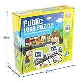 Yissma Öffentliches Schild Lernen Puzzlespiel Set mit Bildkarte * 6, Zeichen * 54 Kinder Tischspiele Lernspielzeug Kinder Sicherheitserziehung