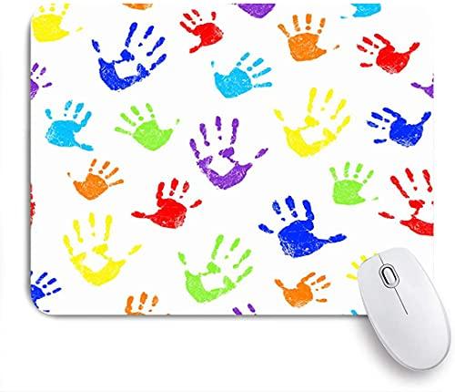 HARXISE Alfombrilla Gaming,Arco Iris Holi Color Familia Amor Mano Adulta Diversión Cumpleaños Diseño Abstracto Blanco Creativo,con Base de Goma Antideslizante,240×200×3mm