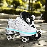 DHTOMC Roller Skates Women,quad Roller Skates Kids,shoes With Led Light For Girls,kick Roller Shoes Adults,sports Outdoors Technical Skateboarding Shoe,EUR37