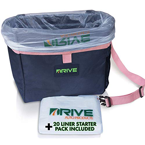 Car Trash Can and Garbage Bag Set: Leak Proof Trash Container with Lid and Accessories to Keep Your Auto Interior Clean - The Drive Bin As Seen on TV Collective - 1-Pack XL, Pink Strap