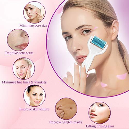 Dermaroller, Nivlan 6 in 1 Derma Roller Kit, Rullo Viso con Aghi, Cura della Pelle Professionale Strumenti di Bellezza, il trattamento di acne cicatrici, antietà, smagliature e perdita di capelli, Blu