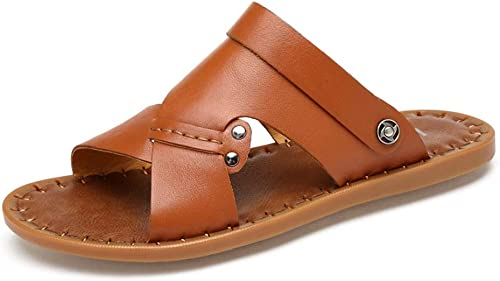 Sandalen Herren Sommer Sandalen Rutschfeste Hausschuhe Leder Sport Sandalen Outdoor Wasser Schuhe Leichte Futter Open Toe Schuhe Sandalen (Farbe   Braun, Größe   44 EU)
