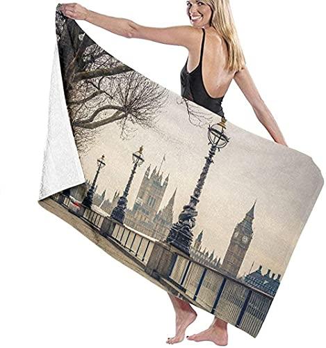 Telo Mare Grande 130 ×80cm, Londra Big Ben e Case,Asciugamano da Spiaggia in Microfibra Asciugatura Rapida,Ultra Morbido,Uomo,Donna,Bambina