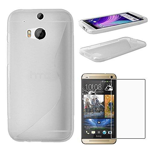ebestStar - Funda Compatible con HTC One M8 2014 Carcasa Gel Silicona Motivo S-línea, S-Line Case Cover, Transparente + Cristal Templado Protector Pantalla [Aparato: 146.4 x 70.6 x 9.4mm, 5.0'']