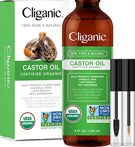 Cliganic USDA Organic Castor Oil, 100% Pure (8oz with Eyelash Kit) - For Eyelashes, Eyebrows, Hair & Skin | Natural Cold Pressed Unrefined Hexane-Free | DIY Carrier Oil | Cliganic 90 Days Warranty