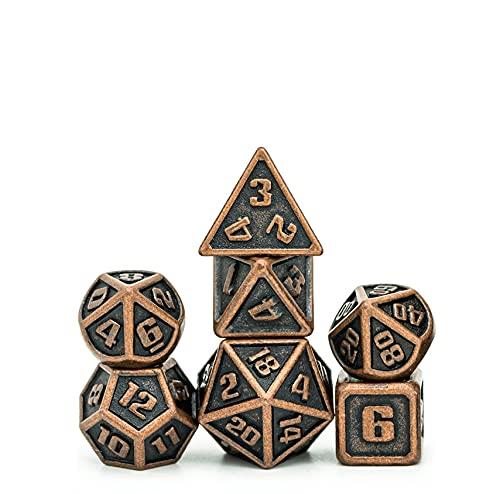 Pen and Paper Würfel Set Mini-Mimir - kleine Metallwürfel im Set für Pen & Paper, 7-teiliges Würfelset, für Dungeons and Dragons, W4 bis W20