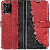 Mulbess Handyhülle für Xiaomi Mi 10 Lite Hülle, Handy Xiaomi Mi 10 Lite Hülle, Leder Flip Etui Handytasche Schutzhülle für Xiaomi Mi 10 Lite 5G Hülle, Wine Rot
