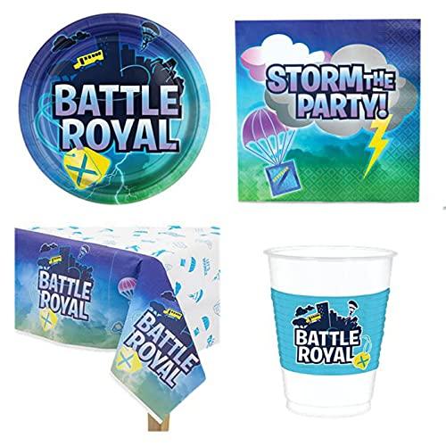 Mon Heros - Kit completo de Battle Royale (33 piezas, 8 platos, 8 vasos, 16 servilletas, 1 mantel de fiesta para niños y niñas