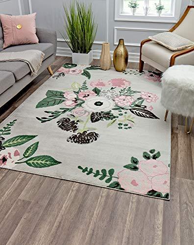 Rugs America Area Rug, 5'0'X7'0', Rose Garden Gray