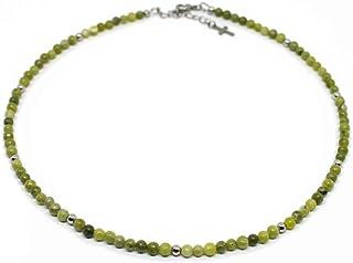 Collana uomo con perle di giada verde da 4 mm e perle acciaio