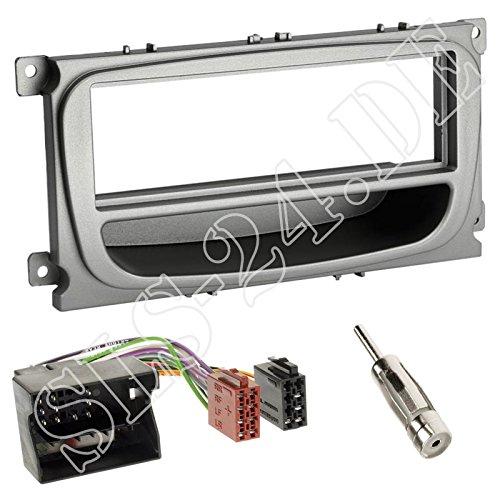 Einbauset: Autoradio 1-DIN Radioblende Blende + Fach Silber + Quadlock Radioanschlusskabel Radio Adapter für Ford Mondeo (BA7) ab 06/2007 Focus (DA3) S-MAX (WA6) Galaxy (WA6) ab 2007 C-MAX (DM2)