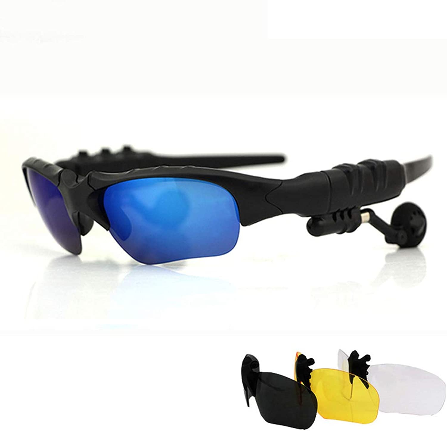 blueeetooth Sports Glasses, EyePredective Polarized Sunglasses, AntiGlare, Driving Riding Windproof Glasses, with Stereo Headphones
