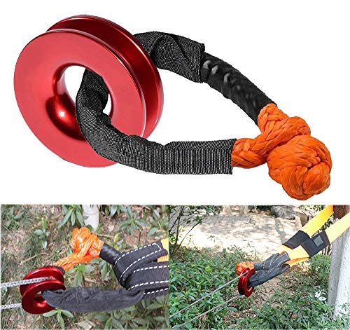 KUBAKA Orange Shackle with Winch Snatch Recovery Ring for ATV UTV SUV Truck Recovery (41000 lb, Red Ring, Orange Shackle)