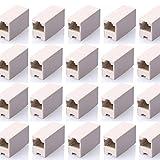 SIENOC 20 Pcs RJ45 Coupler Ethernet Cable Extender Female to Female Straight Modular Inline Coupler (20 Packs RJ45 Female to Female Plug Coupler)