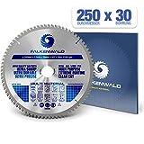 FALKENWALD - Hoja de Sierra Circular 250 x 30 mm - Ideal para Madera - Metal y Aluminio - Disco de Corte compatible con Sierra Tronzadora y Sierra Circular de Bosch & Metabo
