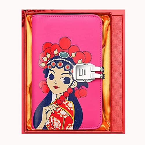 Contraseña Lock Notebook Flow-Hoja con cremallera con cremallera Contraseña Libro Multifuncional Negocio Notebook Detachable Cuaderno Libro de contabilidad (Color : Pink gift box)