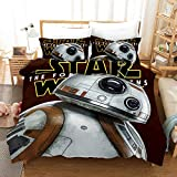 Yomoco - Set di biancheria per letto king-size con motivo di Star Wars, in tre pezzi, con copripiumino da 220 x 240 cm e due federe per cuscino in microfibra, stampa digitale 3D, 14, Single 135x200cm