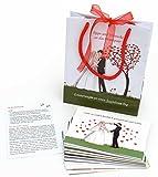 Hochzeitsspiel 52 Postkarten (verschiedene) für die Gäste zum Ausfüllen mit Tipps, Empfehlungen, Rezept für die Ehe usw. Set aus 52 Stück unterschiedlichen Karten als Hochzeit Erinnerung.