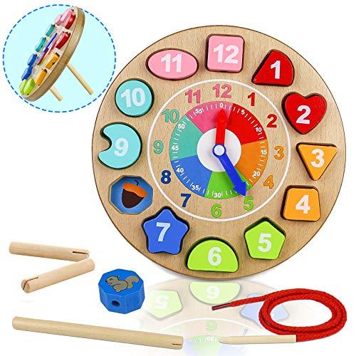 Holzspielzeug Uhr 4 IN 1 Lernbrett Kinder Montessori Lernspielzeug Zeit mit Zeichenfolge Anzahl Puzzlespiel Sortiert für 3 4 5 Jahre Alten Mädchen Jungen