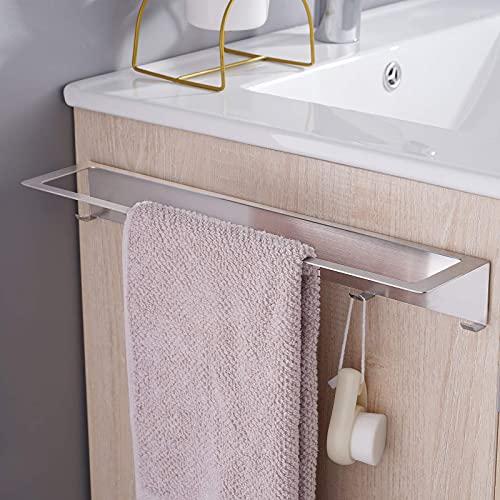 Aikzik Handtuchhalter Ohne Bohren, Edelstahl Wandmontage Handtuchstange mit Haken Bad und Küche 40cm