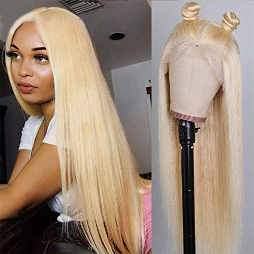 Ucrown T-Part 613 Blonde Lace Front Wig Human Hair 13x4x1 Pre Plucked Middle Part Lace Wigs with Baby Hair Brazilian Straight Blonde Human Hair Wigs for Black Women 150% Density (14inch, 613 blonde)