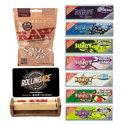 Juicy Jays Rolling Papers Bundle – Super Fine Rolling Papers. Raw Rolling Machine, 7 Packs of 1 1/4 Juicy Jays Super…